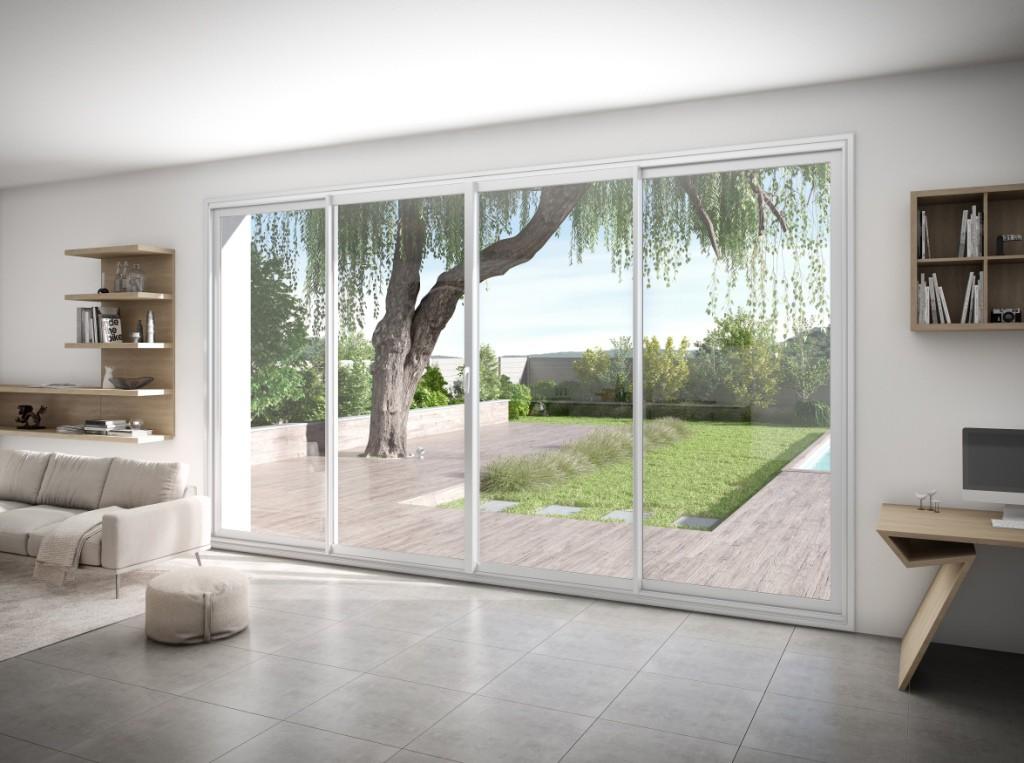 Fen tre et baie vitr e aluminium aluside franciaflex for Baie vitree coulissante 4 vantaux